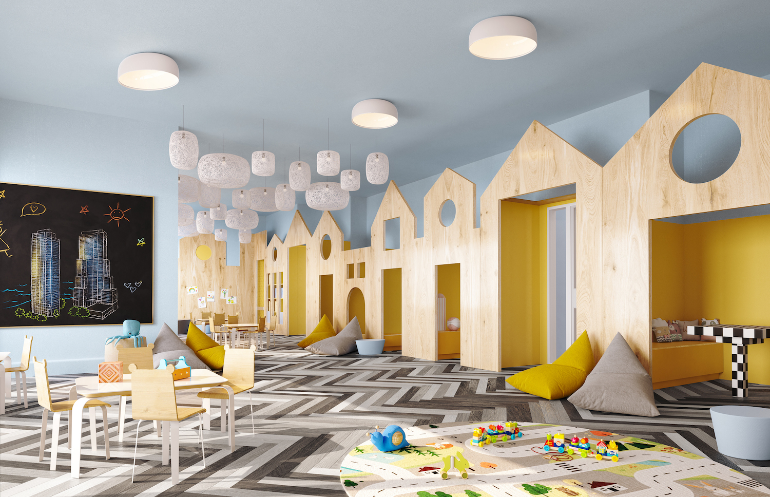 Rendering of playroom at 5203 Center Boulevard. Courtesy of TF Cornerstone
