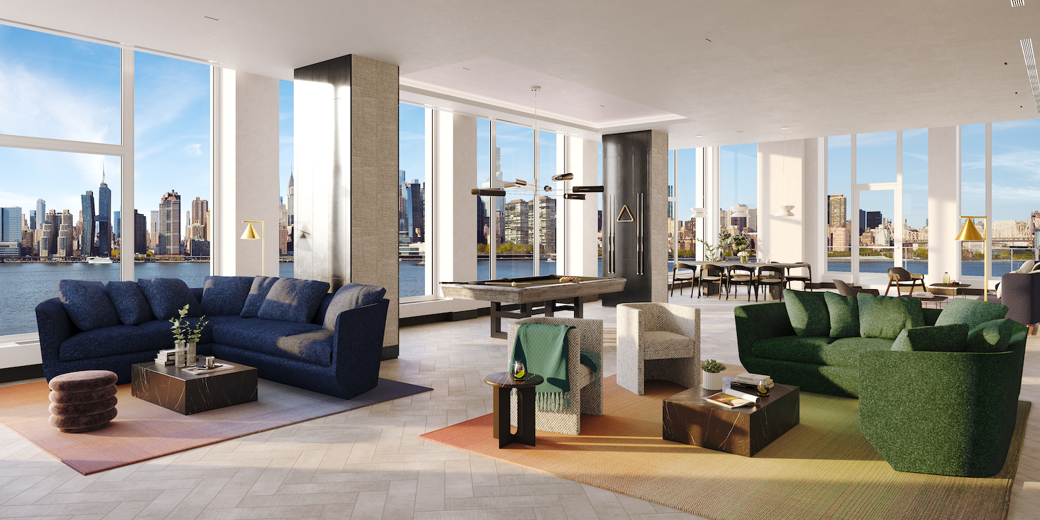 Rendering of lounge at 5203 Center Boulevard. Courtesy of TF Cornerstone