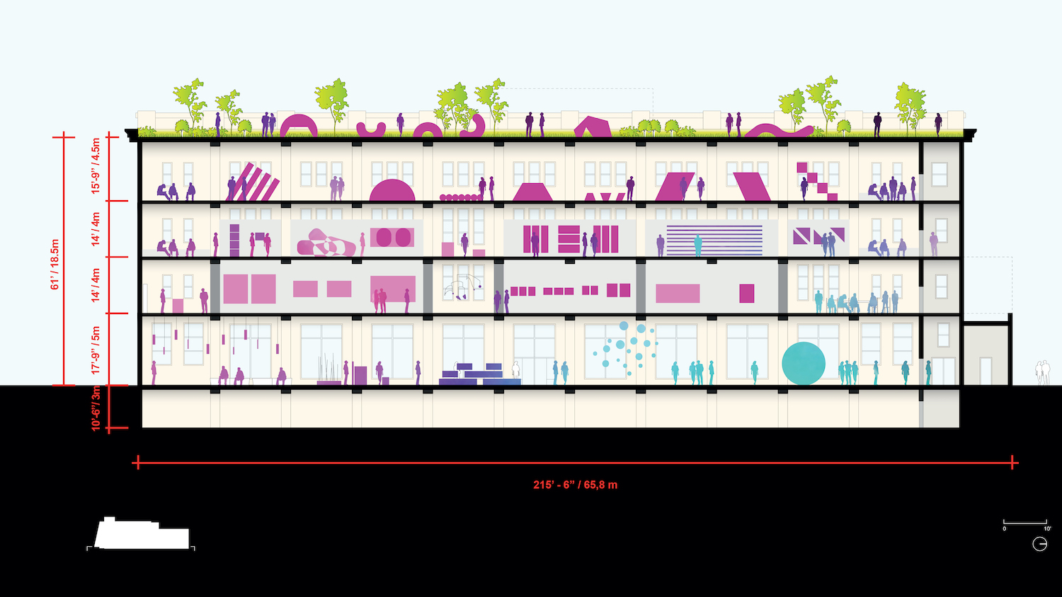 Conceptual Building Section of the Centre Pompidou × Jersey City