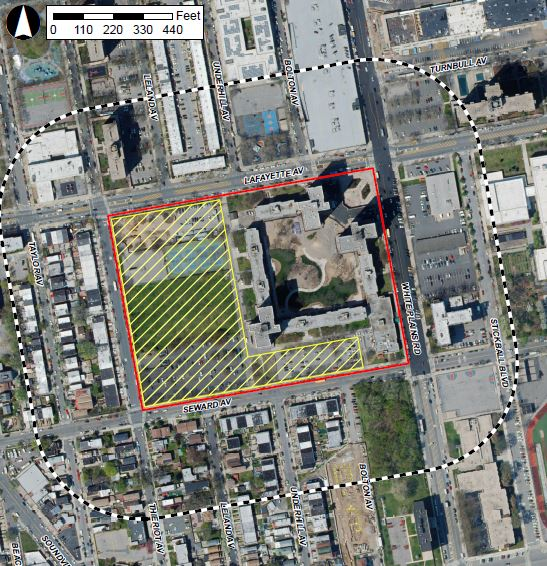 Aerial map illustrates project area (in red) and development site (in yellow)