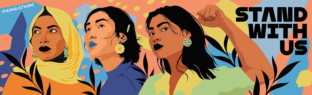 "Amanda Phingbodhipakkiya's digital illustration for ""Stand With Us"" mural"