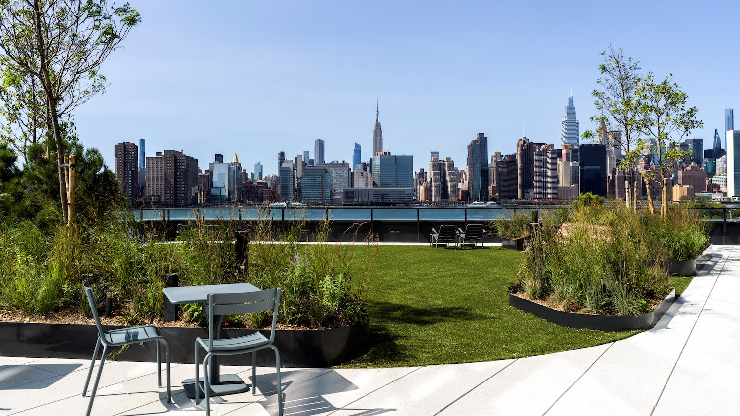 Amenities Deck at Two Blue Slip in Greenpoint, Brooklyn