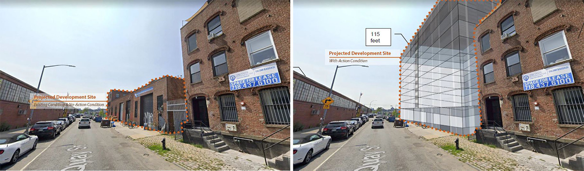 Existing conditions (left) and proposed development (right) at 79 Quay Street