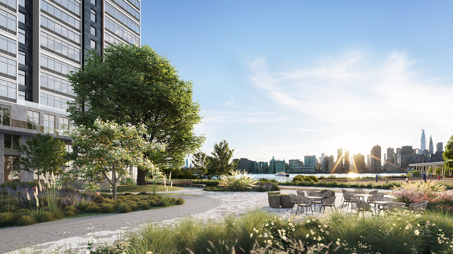 Rendering of half-acre park at 5203 Center Boulevard. Courtesy of TF Cornerstone