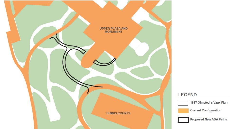 Illustration depicts the original Olmstead & Vaux Plan (white), current configuration (orange), new ADA compliant pathways (black) within Fort Greene Park - New York Parks Department