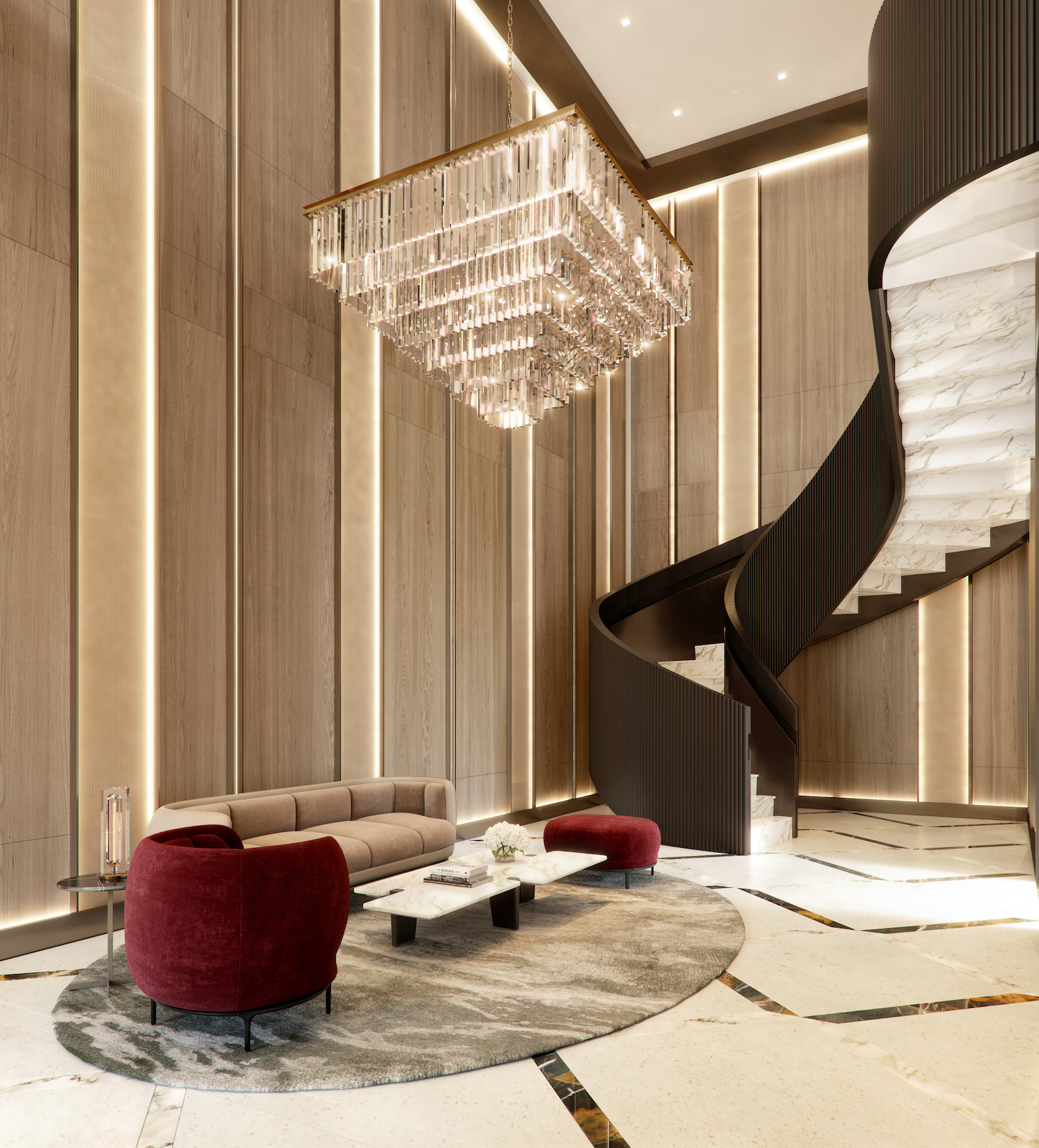 Era Amenities - Lobby Spiral Staircase. Rendering by V1