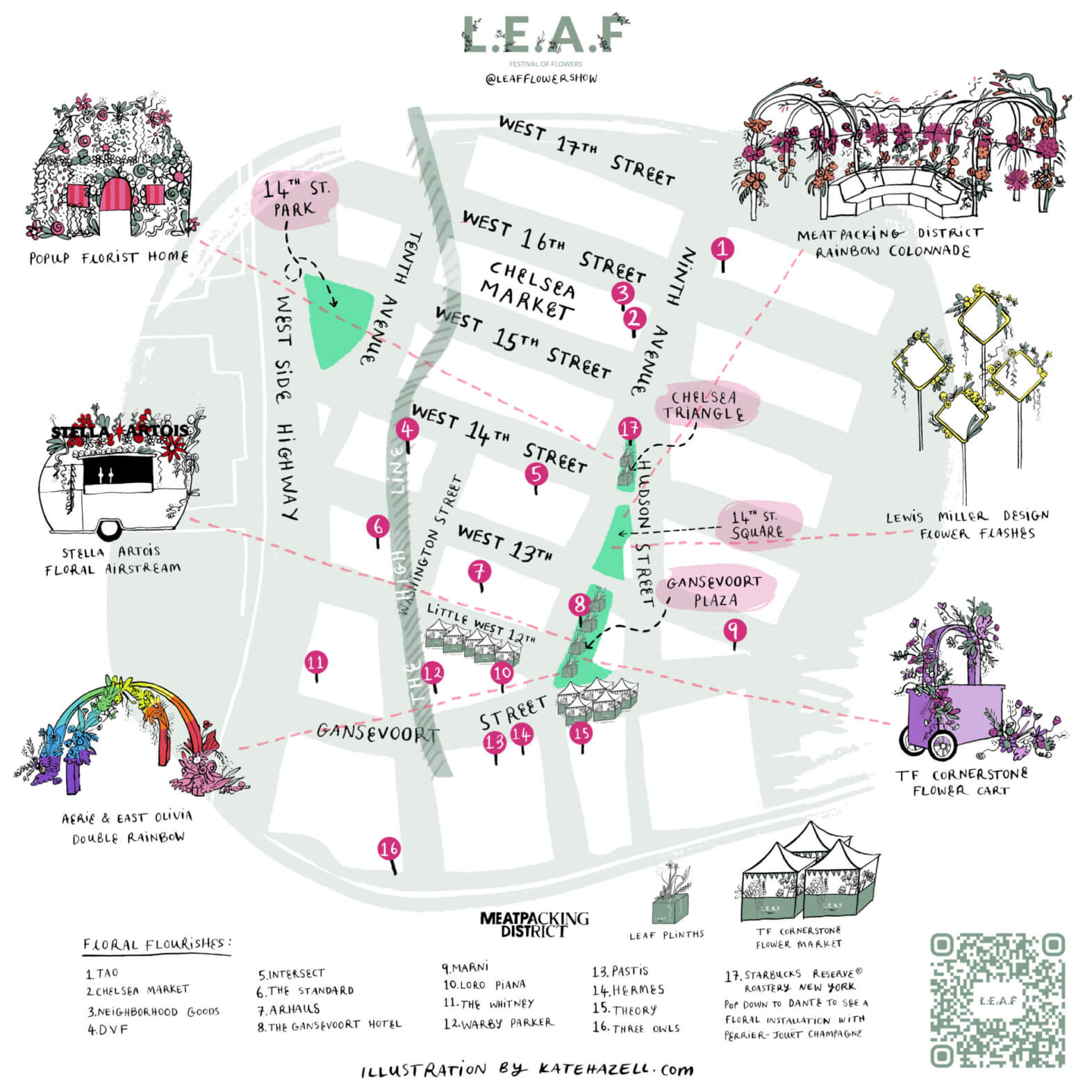 Map of all installations and booths to be seen at the L.E.A.F. flower festival