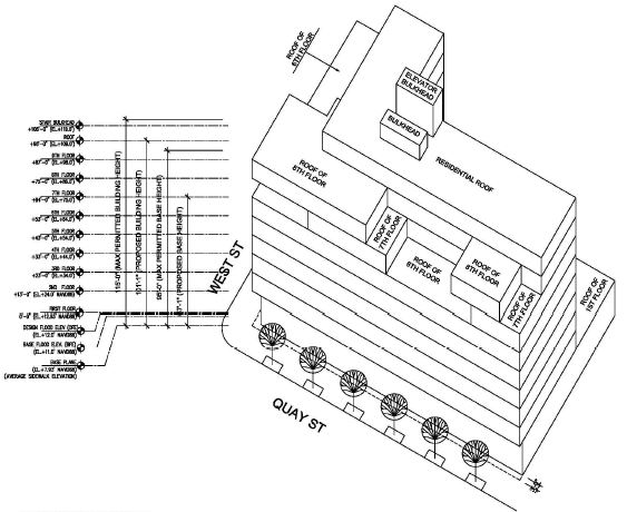 Massing diagram for proposed development at 79 Quay Street