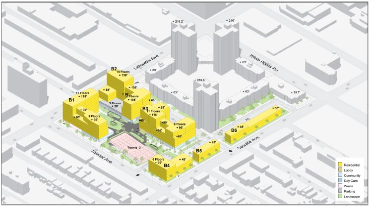 Massing diagram illustrates Stevens Commons with expanded buildings - WXY Architecture