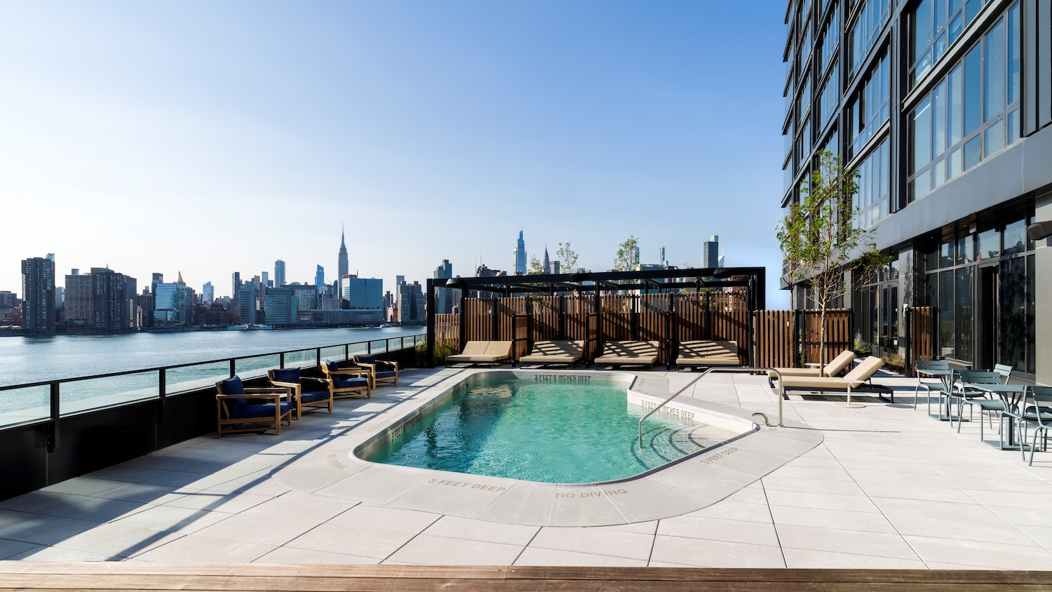 Pool at Two Blue Slip in Greenpoint, Brooklyn