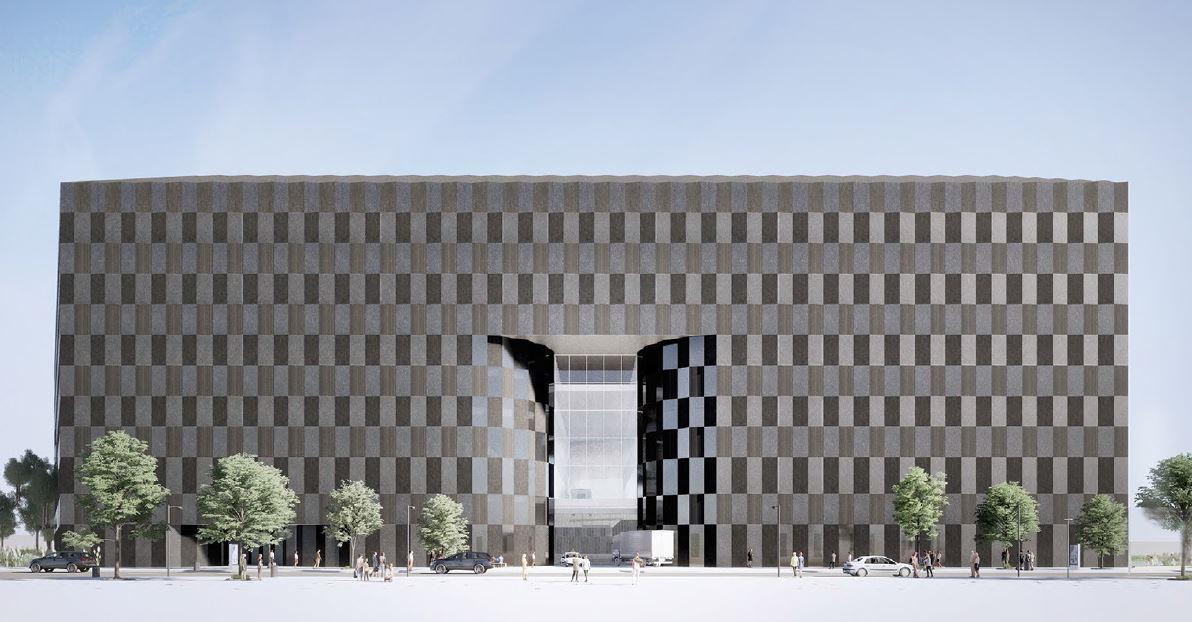 Rendering of Wildflower Studios' facade along 19th Avenue - Bjarke Ingels Group; WF Industrial IV; Wildflower Studios Astoria