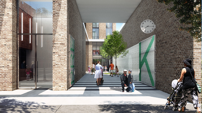 Rendering of entrances at The Eliza - Courtesy of Fogarty Finger Architecture and Andrew Berman Architect