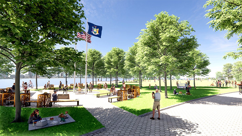 Rendering of green spaces surrounding the 'Circle of Heroes' Essential Workers Monument - Courtesy of Governor Andrew Cuomo's office