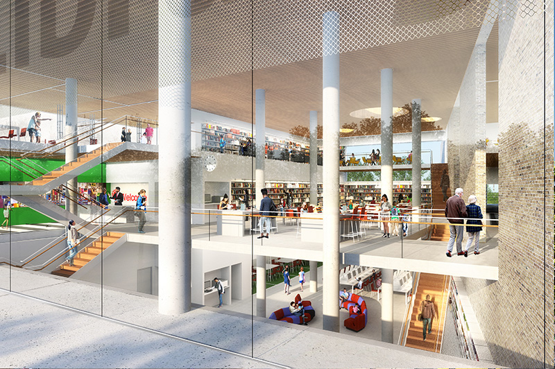 Rendering of the new Inwood Library at The Eliza - Courtesy of Fogarty Finger Architecture and Andrew Berman Architect