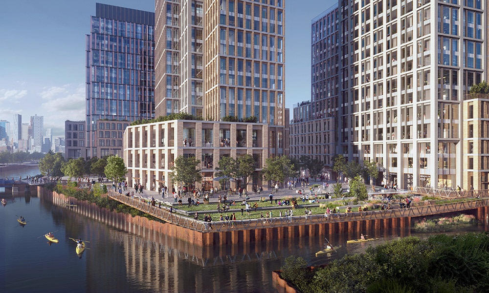 Rendering of the rezoned Gowanus waterfront and public esplanade along Carroll Street - Gowanus Forward