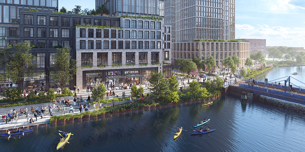 Rendering of the rezoned Gowanus waterfront and public esplanade along Nevins Street - Gowanus Forward