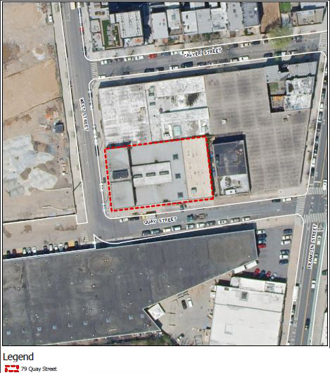 Site map of proposed development at 79 Quay Street (red)