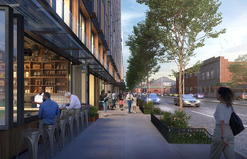 Updated rendering of ground floor retail area 1045 Atlantic Avenue - TOTEM; dencityworks