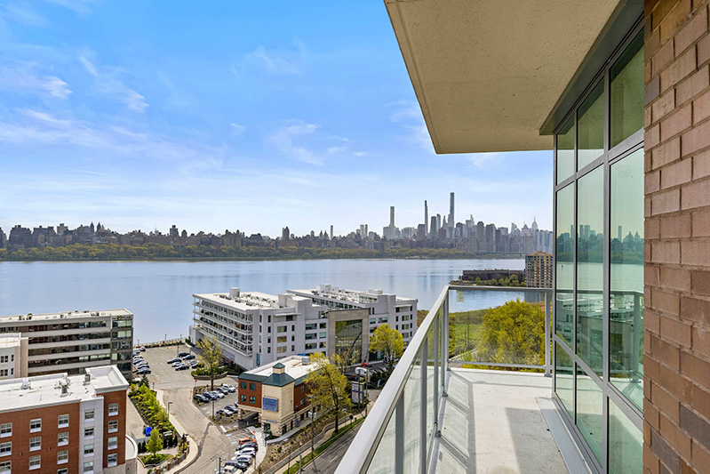 View of Manhattan skyline from a residential terrace at Solaia - Skyline Development Group