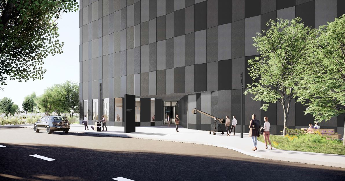 View of Wildflower Studios' entrance along 19th Avenue - Bjarke Ingels Group; WF Industrial IV; Wildflower Studios Astoria - Copy