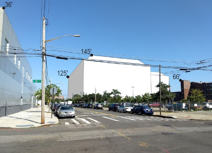 View of Wildflower Studios' proposed massing on 19th Avenue - Urban Cartographics; WF Industrial IV; Wildflower Studios Astoria