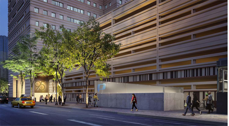 95 Columbus lobby entrance facing PATH - Credit: Miller Hare
