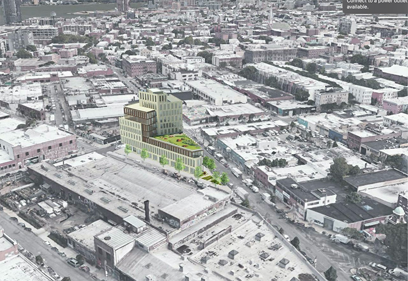 Aerial rendering of proposed building at 1 Wythe Avenue