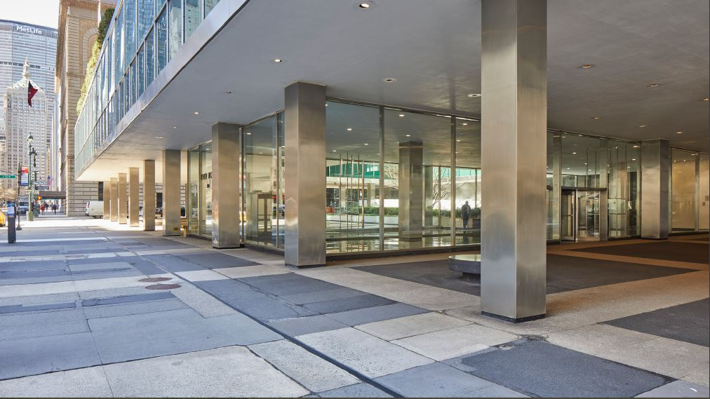 Existing condition of pavers near the ground floor entrance at Lever House - Courtesy of Skidmore, Owings & Merrill (SOM)