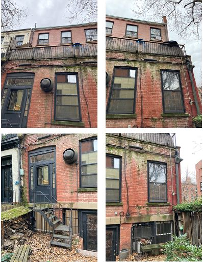 Existing conditions at 109 State Street at the property's rear elevation - CWB Architects