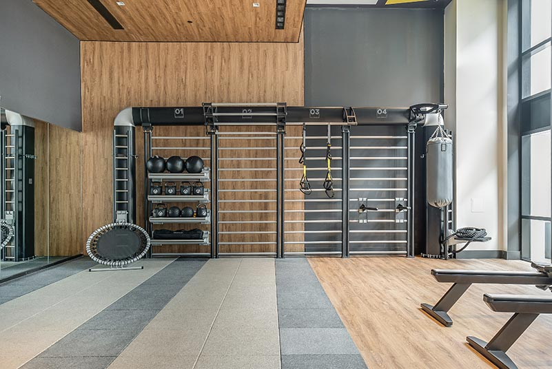Fitness center at Riverhouse 9 - Courtesy of Mack-Cali Realty Corporation