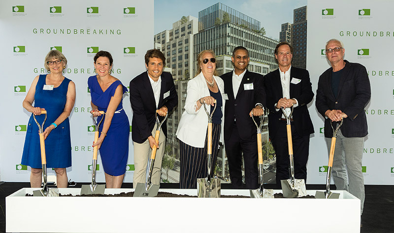 Group Groundbreaking – Shown, left to right, Vicki Been, New York City Deputy Mayor; Rachel Loeb, NYCEDC President and CEO; Mel Ruffini, executive vice president, AECOM Tishman; Gale Brewer, Manhattan Borough President; Sujohn Sarkar, Managing Director, Asset Management, Trinity Church Wall Street; Tommy Craig, Senior Managing Director of Hines; Rick Cook, Founding Partner of COOKFOX Architects.