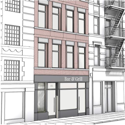 Preliminary rendering of ground floor retail area at 15 Greenwich Avenue - Meltzer/Mandl Architects