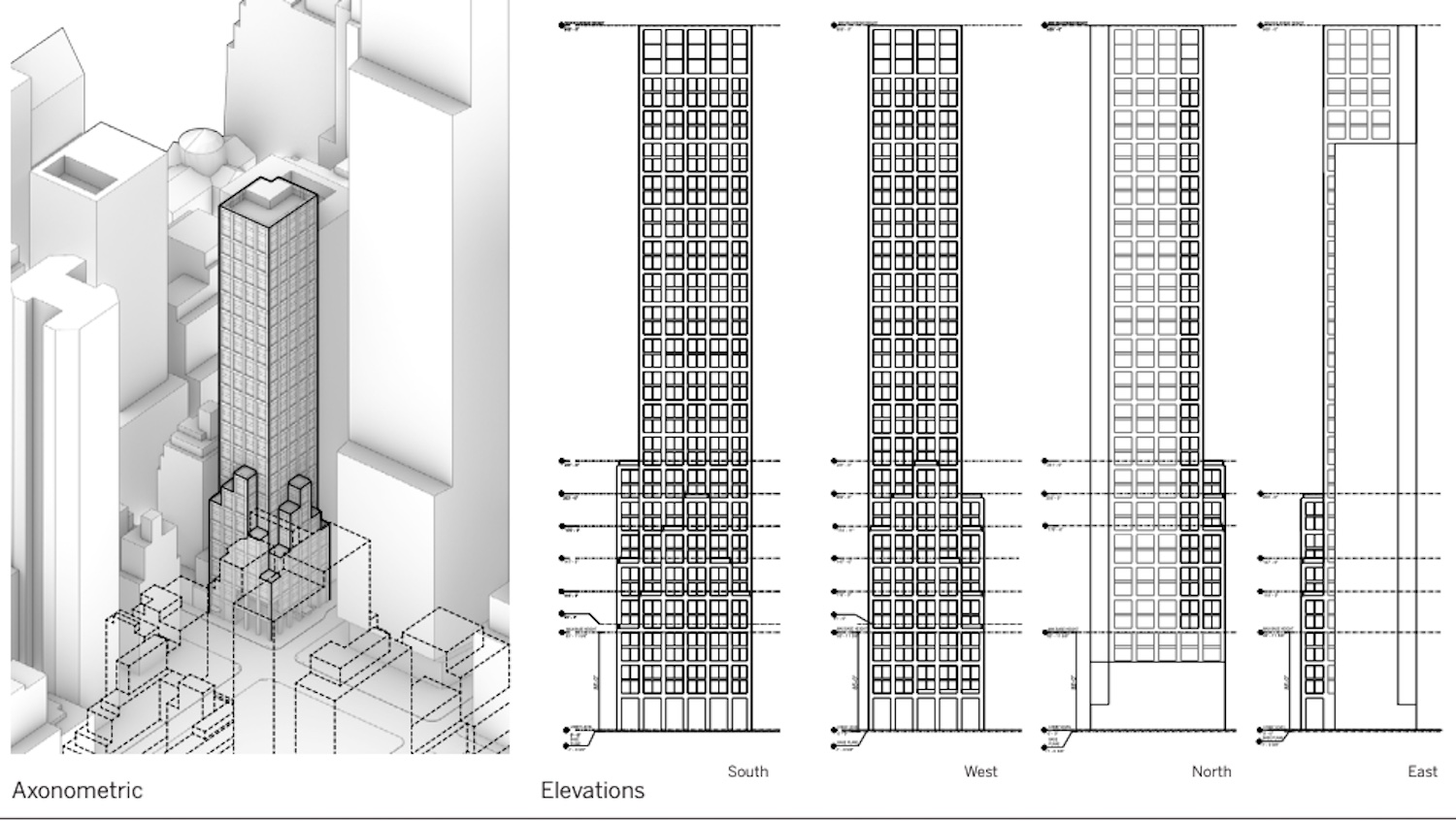 Proposed Project Elevations and Axonometric View of 415 Madison Avenue. Courtesy of SOM