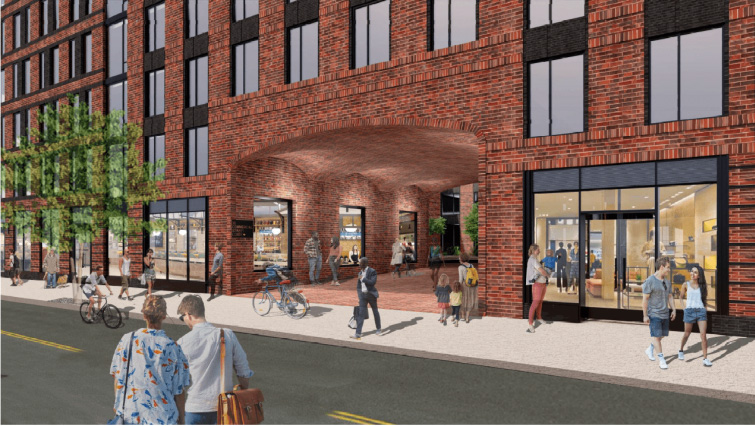 Rendering of residential entryway at 35 Commercial Street - Handel Architects