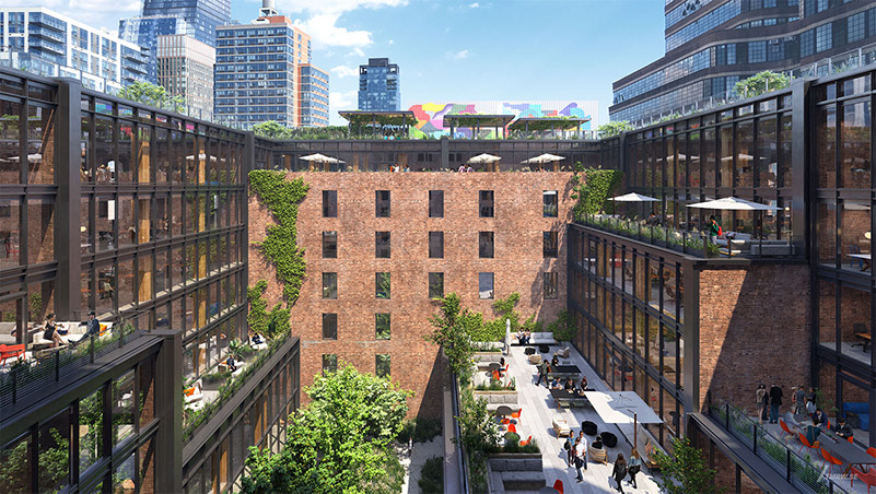 Rendering of cascading terraces and interior courtyard at Terminal Warehouse - Courtesy of Gensler TMRW