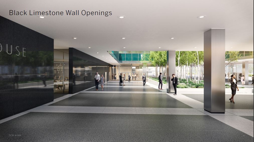 Rendering of new wall openings in black limestone at the lever House ground floor - Courtesy of Skidmore, Owings & Merrill (SOM)