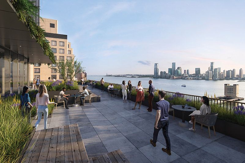 Rendering of outdoor terrace at 555 Greenwich Street - COOKFOX Architects