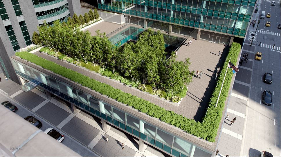Rendering of proposed alteration to the Lever House terrace - Courtesy of Skidmore, Owings & Merrill (SOM)