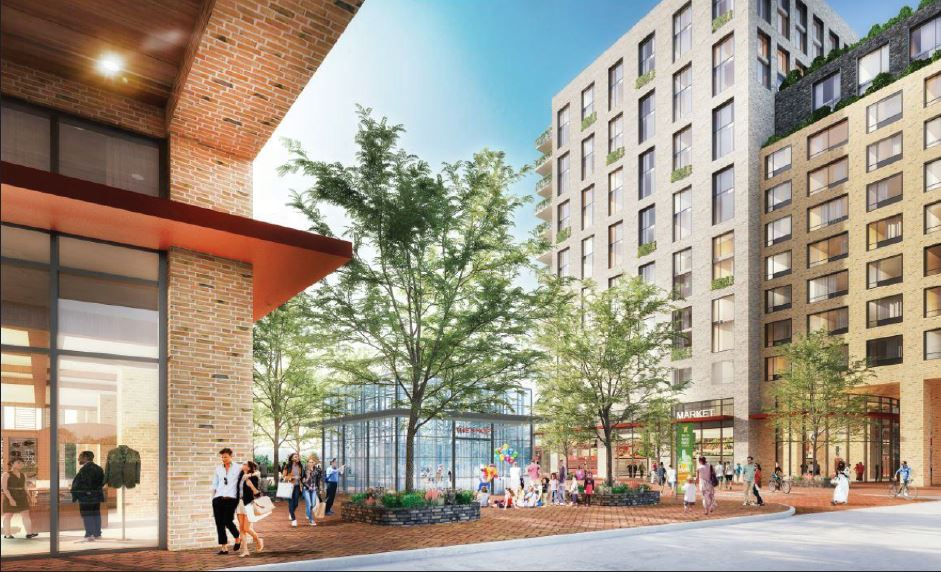 Rendering of retail spaces and outdoor areas between 'Building A' and 'Building B' at Wakefield Village (Newman Architects)