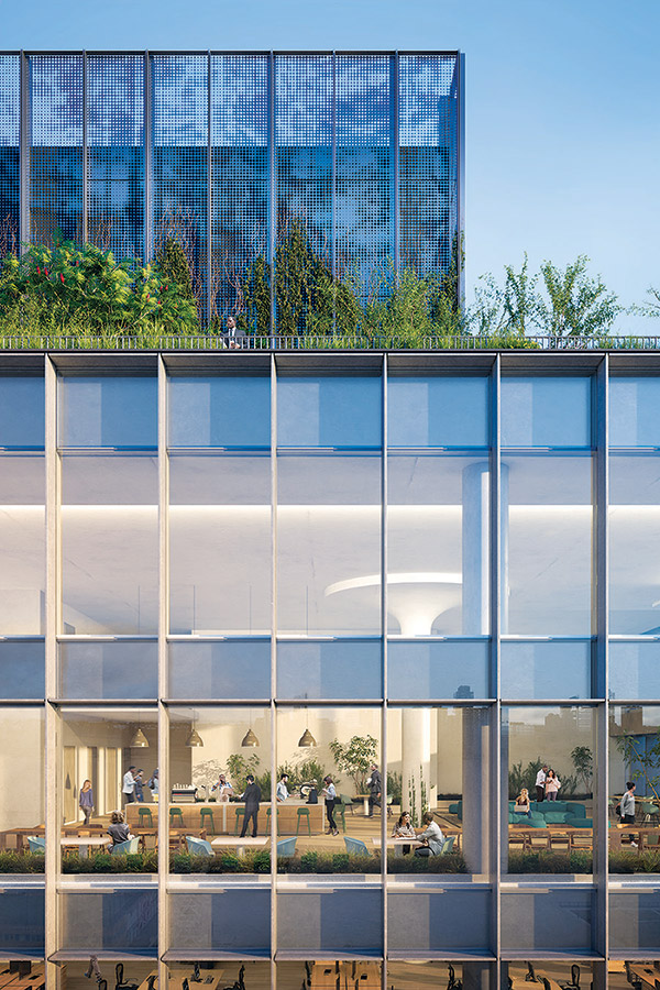 Rendering of the 'Town Hall' amenity space at 555 Greenwich Street - COOKFOX Architects