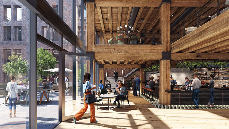 Rendering of work cafe and terrace at Terminal Warehouse - Courtesy of Gensler TMRW
