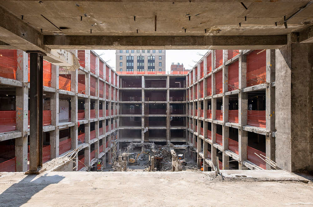 View of partially demolished structure at One Madison Avenue - Photo by Jakob Dahlin