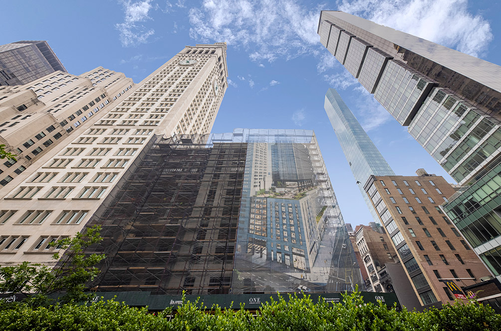View of scaffolding and sidewalk sheds at One Madison Avenue - Photo by Jakob Dahlin