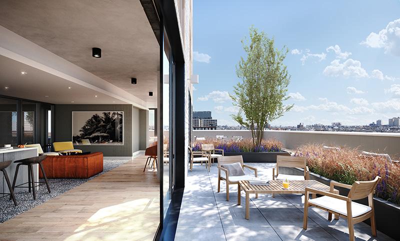 18th Floor outdoor terrace at Plank Road/662 Pacific Street- VMI rendering for IF Studio