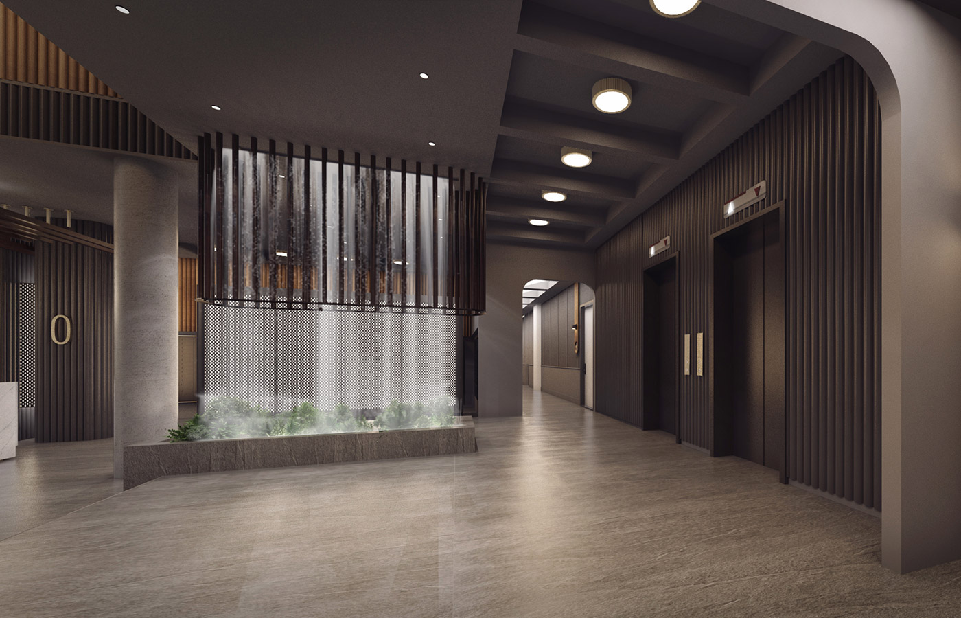 Rendering of residential lobby at 260 Gold Street - StudiosC Architecture
