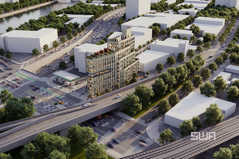 Aerial rendering of 261 Grand Concourse - S. Wieder Architect