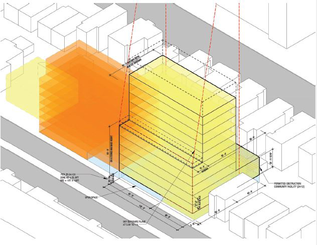 Preliminary massing diagram for new school and residential property along Beach 67th Street - Think Architecture