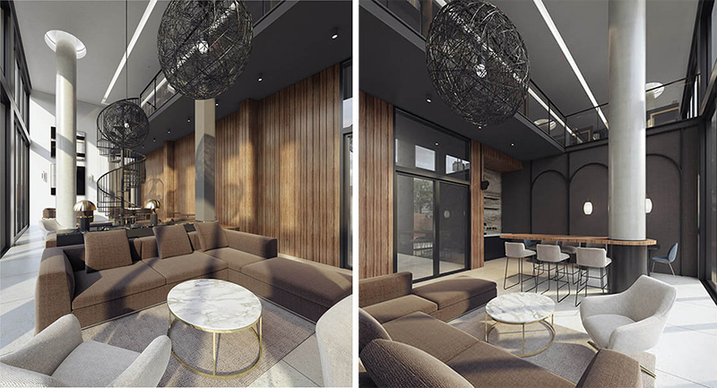 Rendering of common spaces within 1010 Pacific Street - StudiosC
