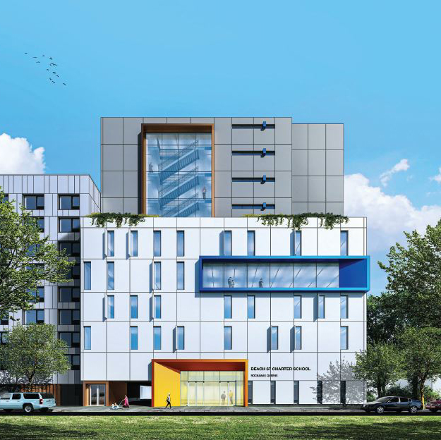 Rendering of new charter school along Beach 67th Street - Think Architecture