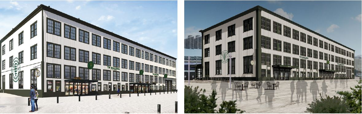 [From left to right] View of previously submitted renderings of 95 Marginal Street (The Tin Building) and current renderings - Roman & Williams Buildings and Interiors